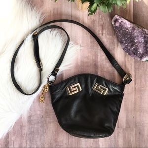 VTG black leather gold accent crossbody purse